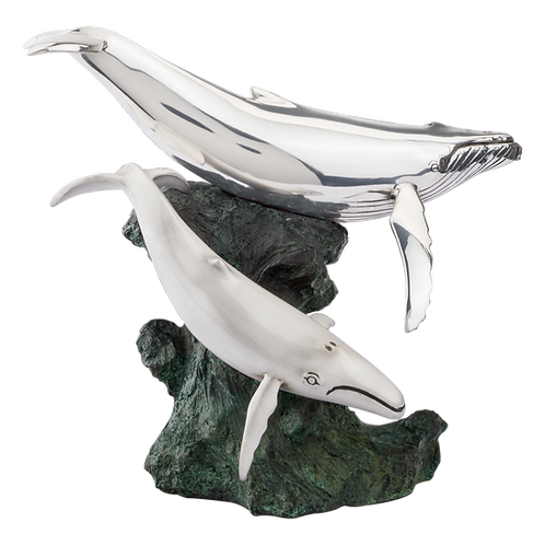 Silver Calf & Mother Humpback Whale Statue