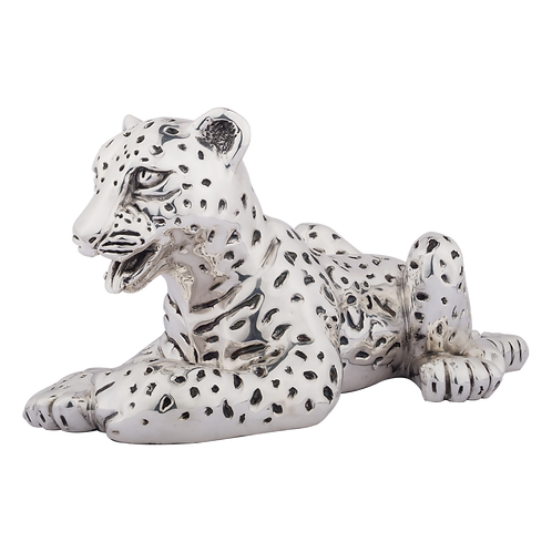 Silver Leopard Cub Statue Laying Down