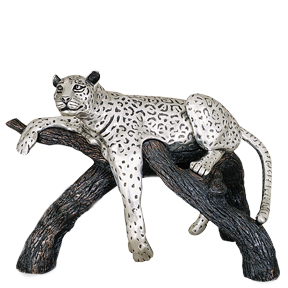 Silver Leopard Statue on a Branch
