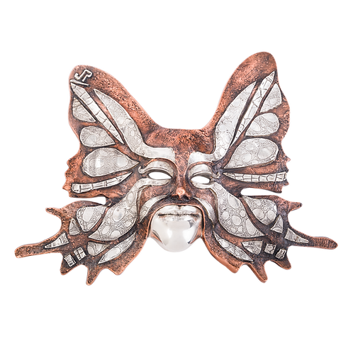 Silver & Copper Butterfly Mask Sculpture