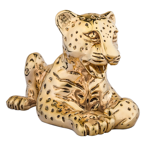 Gold Leopard Cub Statue Laying Down