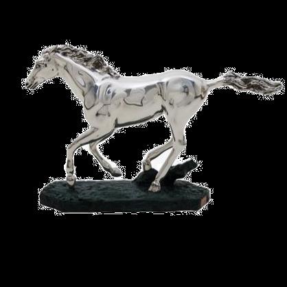 Running Silver Horse Statue