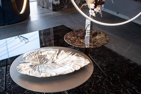 A silver Elephant leaf table centerpiece