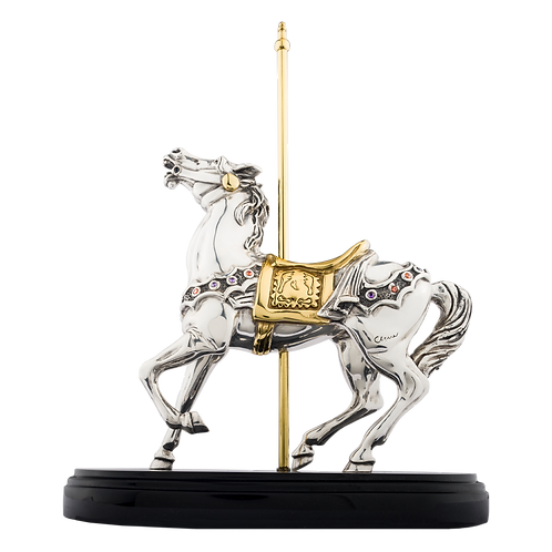 Silver Carrousel Horse Rearing Statue