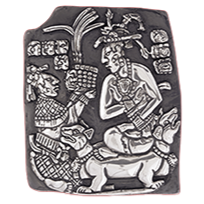 Mayan King Accepting Offering Silver Relief
