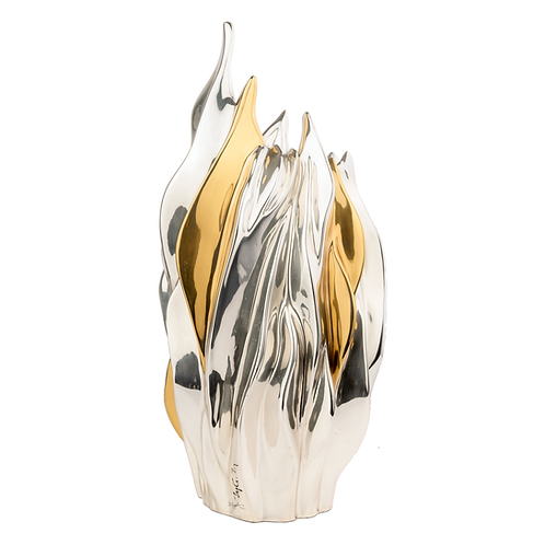 Silver & Gold Flower Vase - The Flame
