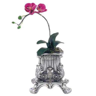 Silver Flower Pot Vintage Raised