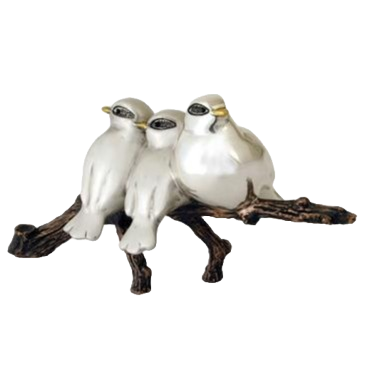 Silver Birds on a Branch Statue