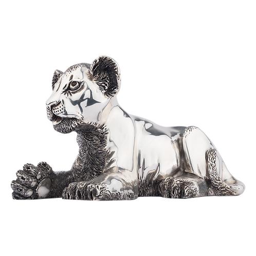 Silver Lion Statue Playing Cub