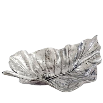Elephant Ear Leaf Silver Fruit Bowl Table Centrepiece