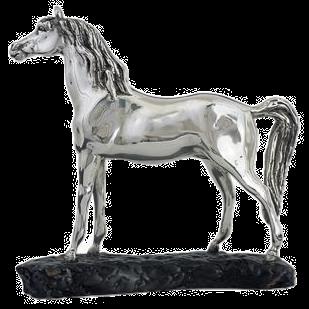 Silver Arab Horse Head High Statue