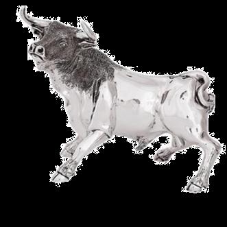 Silver Bull Statue