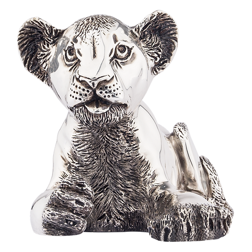 Silver Lion Statue - Laying Lion Statue
