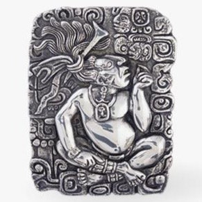 Mayan King Hieroglyphs Silver Relief