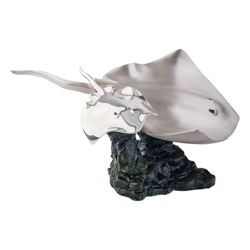 Mother & Child Manta Rays Swimming Statue