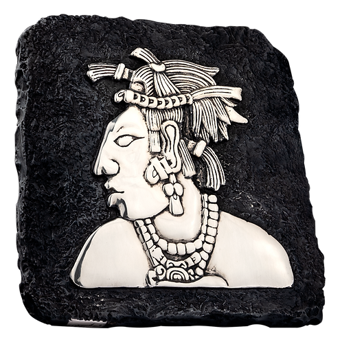 Mayan King Silver Relief