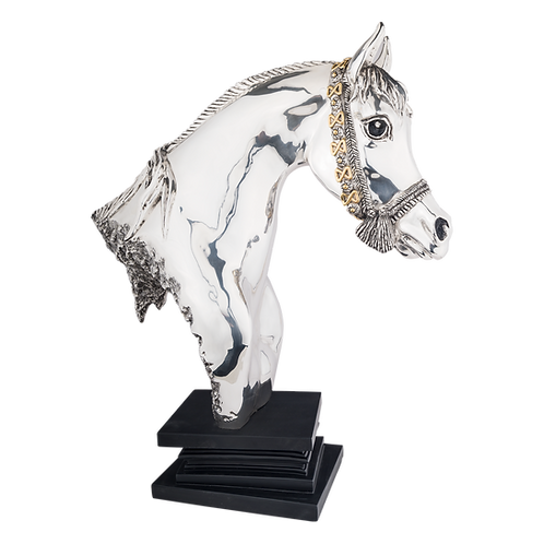 Silver Carrousel Horse Head Statue