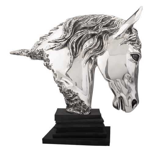 Serene Silver  Horse Head Statue