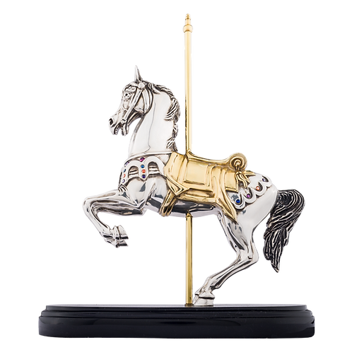 Rearring Carrousel Silver Horse Statue
