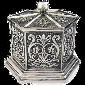 Silver Jewelry Box Hexagon Classical