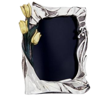 Silver Photo Frame & Gold Tulips