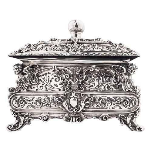 Large Square Silver Cremation Urn
