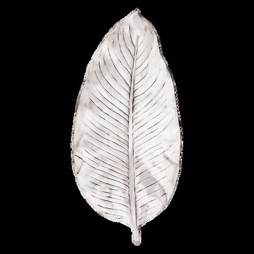 Tropical Leaf Silver Fruit Bowl Medium