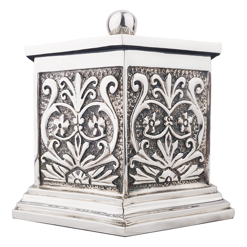 Silver Cremation Urn Hexagon Classical