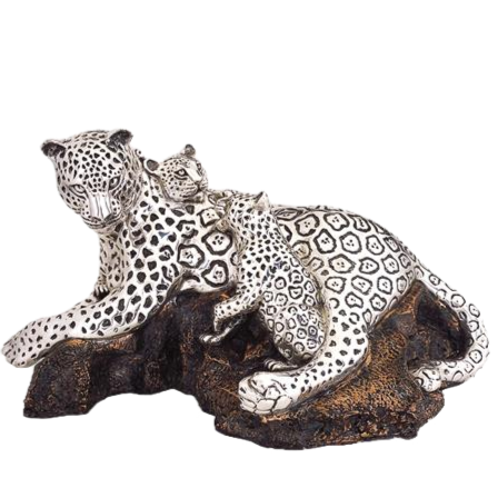 Silver Leopard Statue Mother & Cubs Laying Down