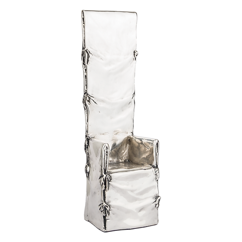 Silver High Back Chair Sculpture