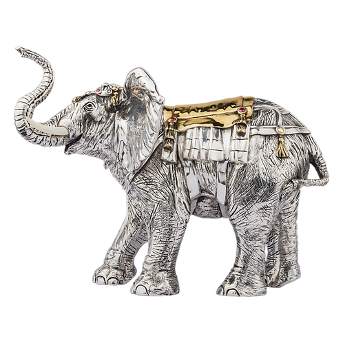 Silver Elephant Statue Gold Back