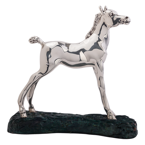 Silver Young Arab Horse Figurine