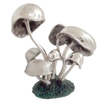 Silver Mushrooms Sculpture