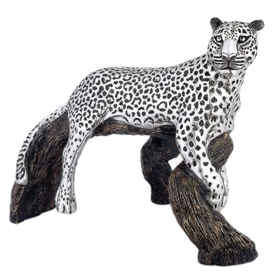 Silver Leopard Statue Contemplating on a Branch