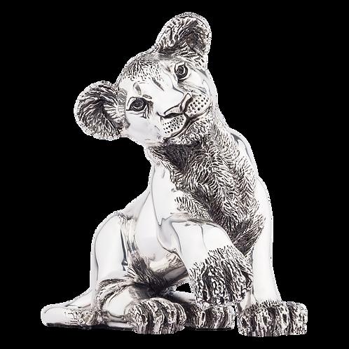 Silver Lion Statue Playful Cub