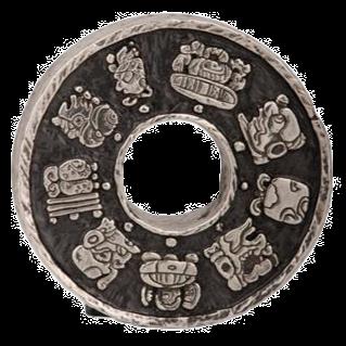 Silver Mayan Relief Circular Hieroglyphics