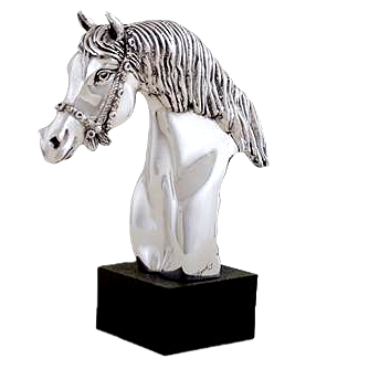 Silver Bridled Horse Head Statue