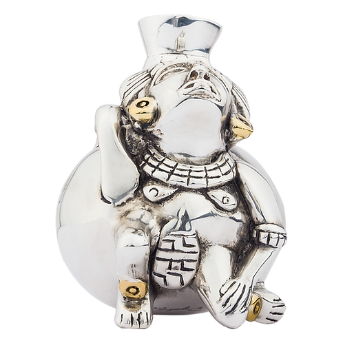 Toltec Silver Woman Vessel Aztec Art