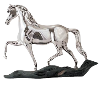 Image of Silver Horse Statue, a trotting horse and a green copper base that simulates the grass