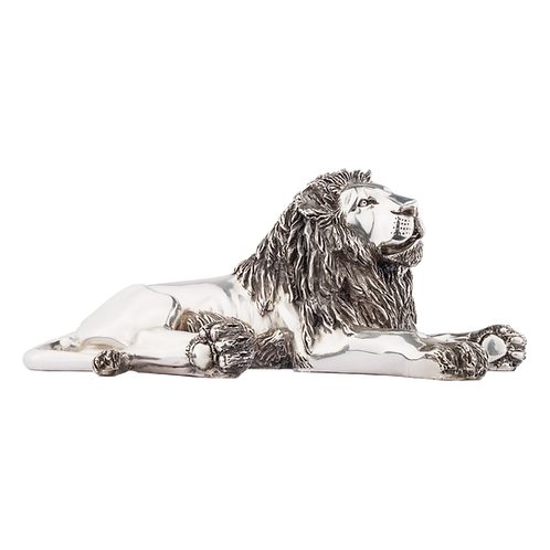 Silver Lion Statue Laying Down Side View