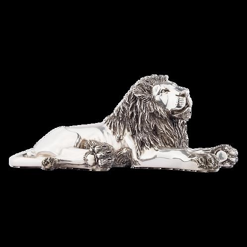 Resting Silver Lion Statue