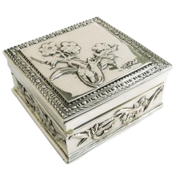 Floral Silver Jewelry Box