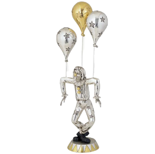 Silver Clown Statue Golden Balloon