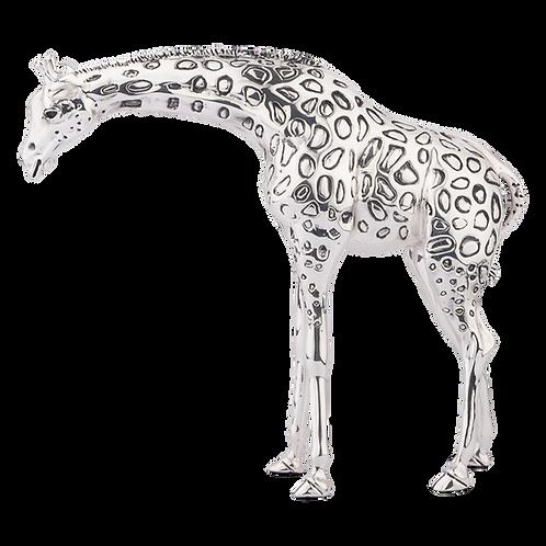 Silver Giraffe Calf Statue