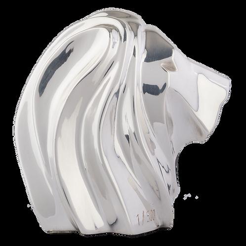 Silver Lion Head Sculpture