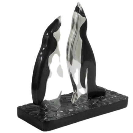 Silver Singing Penguins Statue