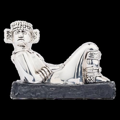 Small Silver Chac Mool Statue