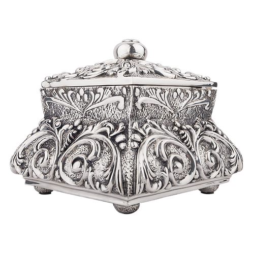 Large Square Rounded Silver Cremation Urn