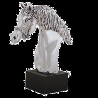 Silver Carrousel Horse Head Statue