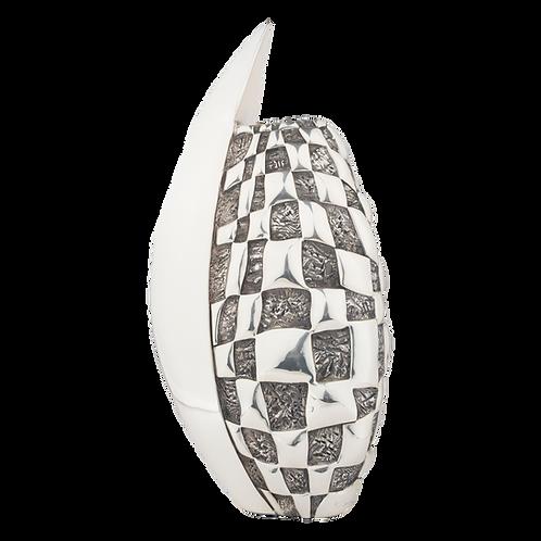 Modern Checkers SilverFlower Vase